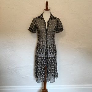 Dresses & Skirts - Embroidered mesh shirt dress. Size small.